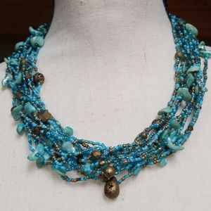 Vintage Shell and Seed Bead Multi Strand Necklace